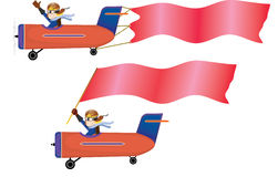 Pilot sitting in airplane and red banner/flag Stock Photo
