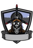 Pilot skull badge design. Vector of pilot skull badge design Stock Photo