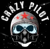 Pilot Skull T shirt Graphic Design. Fashion style Stock Photos