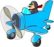Pilot In A Small Plane stock illustration