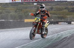 Pilot Spanish championship supermotard Stock Photos