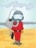 Pilot standing in front of the jet plane. Illustration of pilot standing in front of the jet plane with helmet still used Royalty Free Stock Photography