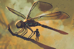 Pilot standing with giant mechanical dragonfly. Sci-fi concept illustration painting royalty free illustration