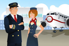 Pilot and stewardess. A illustration of a pilot and a stewardess in the airport royalty free illustration