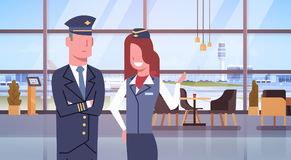 Pilot And Stewardess In Airport Airline Crew Workers Team Royalty Free Stock Photos