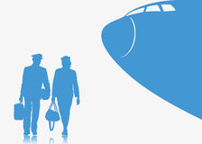 Pilot and stewardess background Stock Images