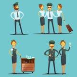 Pilot And Stewardess Cartoon Set Stock Photos