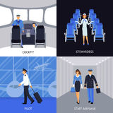 Pilot And Stewardess 4 Flat Icons Stock Photos
