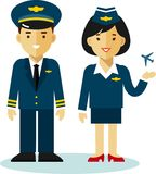 Pilot and stewardess in flat style Stock Photo