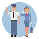 Pilot and stewardess Royalty Free Stock Photography