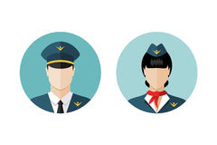 Pilot and stewardess icons Stock Photography