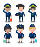 Pilot and stewardess. set of officers and flight attendants Stewardesses  isolated on white background, pilot and air hostess Stock Images