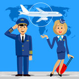 Pilot and stewardess in uniform on blue background with world ma. P and airplane. There is in addition a vector format EPS 8 Stock Images