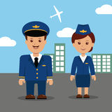 Pilot and stewardess in uniform. Royalty Free Stock Image