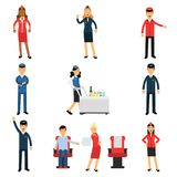 Pilot and stewardess at work during the flight set, air transportation professionals working on the plane vector royalty free illustration