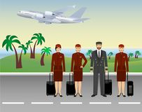 Pilot and stewardesses characters in uniform standing on flying aircraft background. Aviation staff employee. Concept. Airplane personnel team. Vector Stock Photos