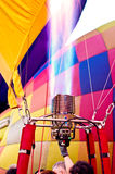 Pilot testing burner of Hot air balloon Stock Image