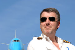 Pilot u. Verkehrsflugzeug 747 Stockbilder