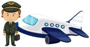 Pilot und Flugzeug auf weißem Hintergrund vektor abbildung