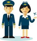 Pilot und Stewardess in der flachen Art lizenzfreie abbildung
