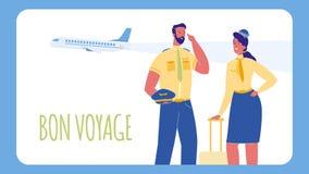 Pilot und Stewardess Vector Web Banner mit Text stock abbildung