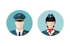 Pilot- und Stewardessikonen vektor abbildung