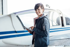 Pilot using a digital tablet royalty free stock images
