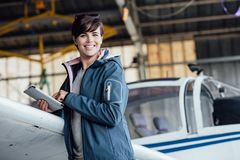 Pilot using a digital tablet royalty free stock photo