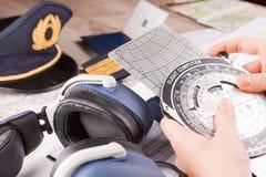 Pilot- utrustning för flygplan arkivbilder