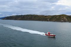 A pilot vessel racing along the coast royalty free stock photos