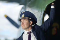 Pilot in  vintage aircraft Stock Photo