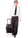 Pilot walking with bag Royalty Free Stock Image