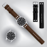 Pilot watch with leather strap eps10. No name pilot watch with leather strap eps10 Stock Illustration