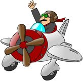 Pilot Waving From A Small Airplane Stock Image