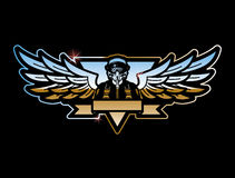 Pilot And Wings. Emblem With Pilot And Wings Royalty Free Stock Images