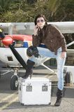 Pilot woman waiting to fly Stock Photography
