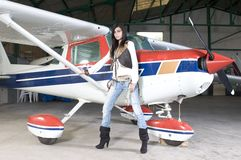 Pilot woman waiting to fly Royalty Free Stock Images