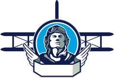Pilota Biplane Circle Retro dell'aviatore di guerra mondiale una Illustrazione di Stock