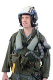 Pilota da combattimento del jet del blu marino isolato Immagine Stock