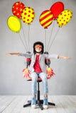 Pilota del bambino pronto a volare fotografia stock