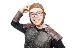 Pilota divertente con gli occhiali di protezione isolati Fotografia Stock