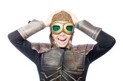 Pilota divertente con gli occhiali di protezione isolati Fotografia Stock Libera da Diritti