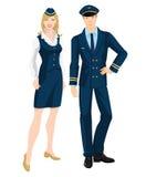 Pilota e hostess in vestiti convenzionali Fotografie Stock Libere da Diritti