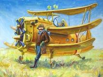 Pilota ed il suo aereo Immagine Stock