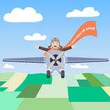 Pilota felice dell'aeroplano nel cielo Fotografie Stock
