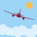 Pilotare un aeroplano sopra le nuvole un giorno soleggiato Immagine Stock Libera da Diritti