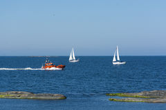 Pilotboat and two sailingboats Stockholm archipelago Royalty Free Stock Photography