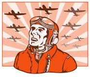 Pilote d'as de la deuxième guerre mondiale Photographie stock libre de droits