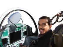 Pilote d'avion de chasse dans l'avion Photographie stock libre de droits