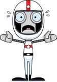 Pilote de voiture de course effrayé par bande dessinée Robot illustration de vecteur
